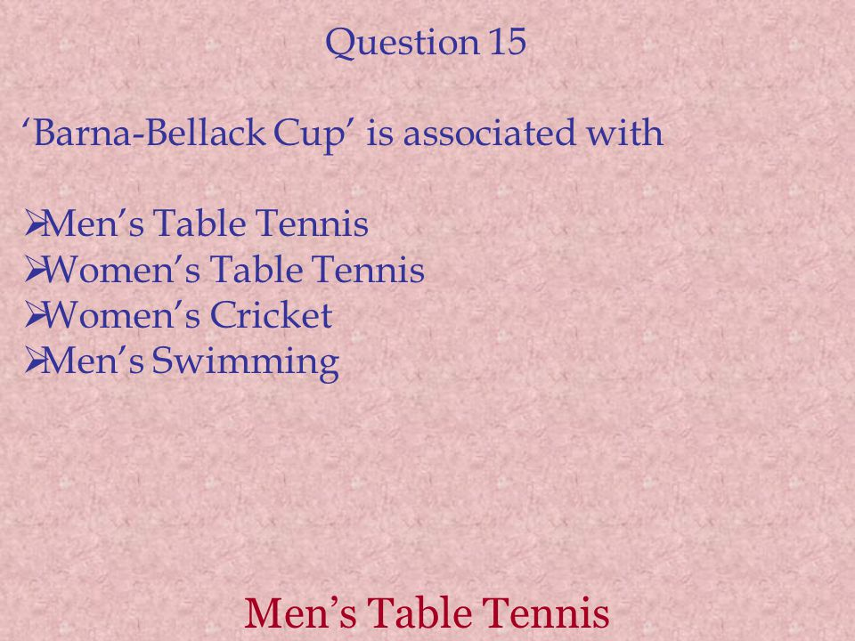 Men's Table Tennis Question 15 'Barna-Bellack Cup' is associated with  Men's Table Tennis  Women's Table Tennis  Women's Cricket  Men's Swimming