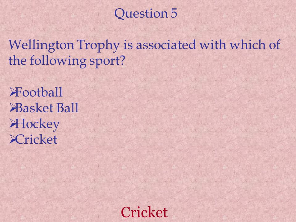 Polo Question 6 Winchester Cup is associated with which sport?  Polo  Rugby  Golf  Chess