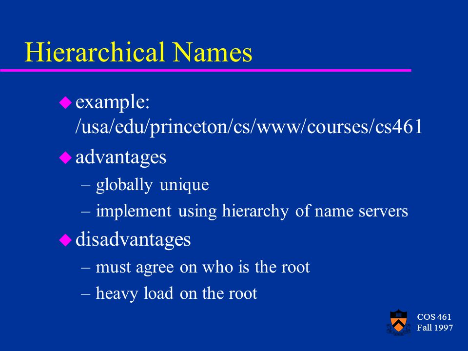 COS 461 Fall 1997 Hierarchical Names u example: /usa/edu/princeton/cs/www/courses/cs461 u advantages –globally unique –implement using hierarchy of name servers u disadvantages –must agree on who is the root –heavy load on the root