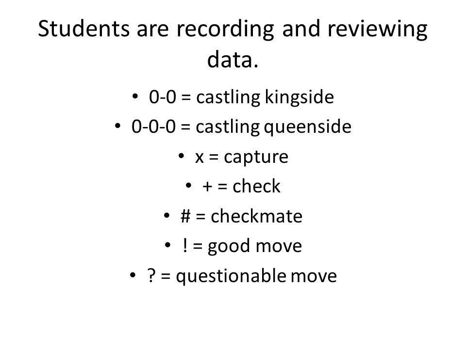 Students are recording and reviewing data. 0-0 = castling kingside 0-0-0 = castling queenside x = capture + = check # = checkmate ! = good move ? = qu
