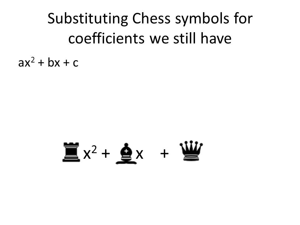 Substituting Chess symbols for coefficients we still have ax 2 + bx + c x 2 + x +