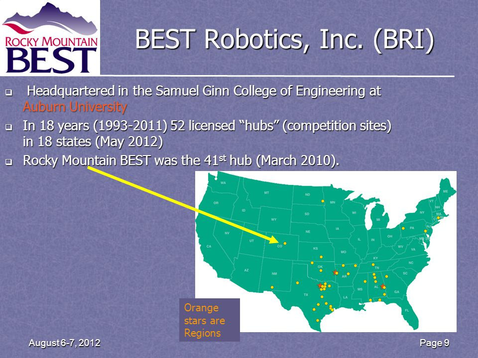 Page 9 August 6-7, 2012 BEST Robotics, Inc. (BRI)  Headquartered in the Samuel Ginn College of Engineering at Auburn University  In 18 years (1993-2