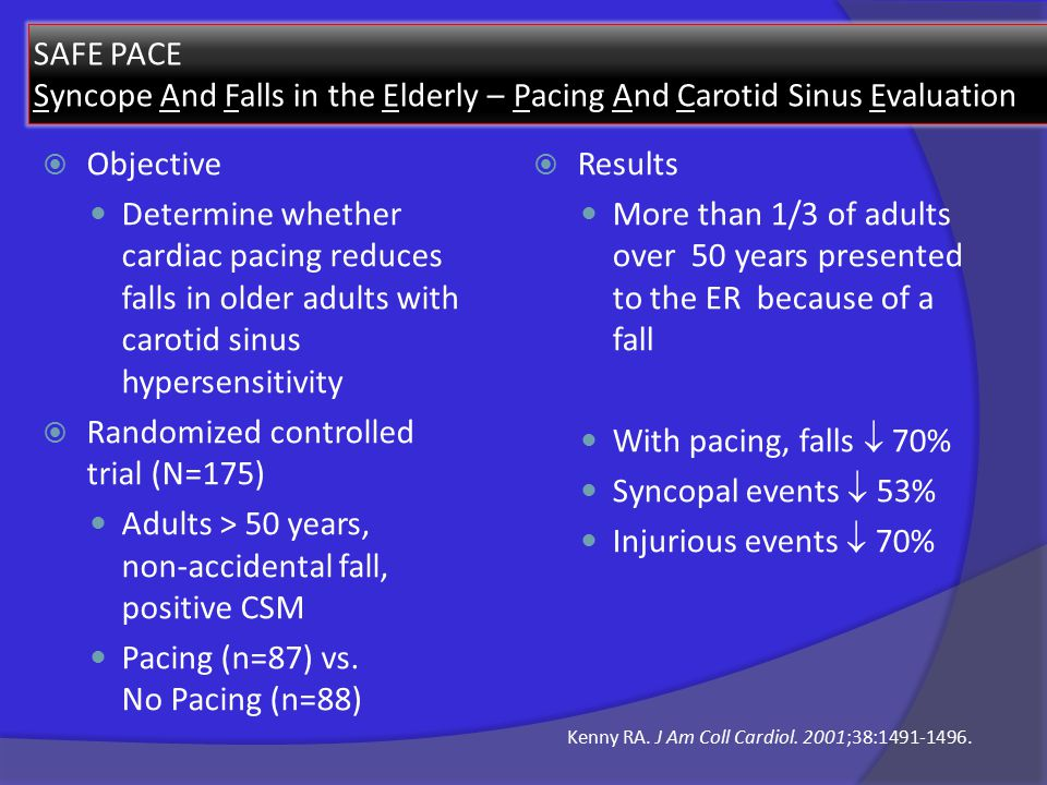 SAFE PACE Syncope And Falls in the Elderly – Pacing And Carotid Sinus Evaluation  Objective Determine whether cardiac pacing reduces falls in older adults with carotid sinus hypersensitivity  Randomized controlled trial (N=175) Adults > 50 years, non-accidental fall, positive CSM Pacing (n=87) vs.
