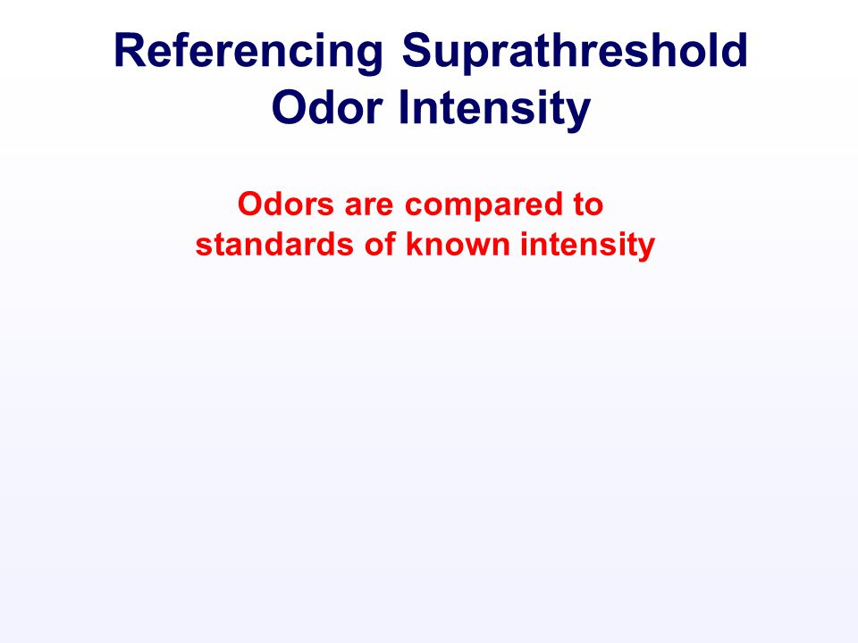 Referencing Suprathreshold Odor Intensity Odors are compared to standards of known intensity