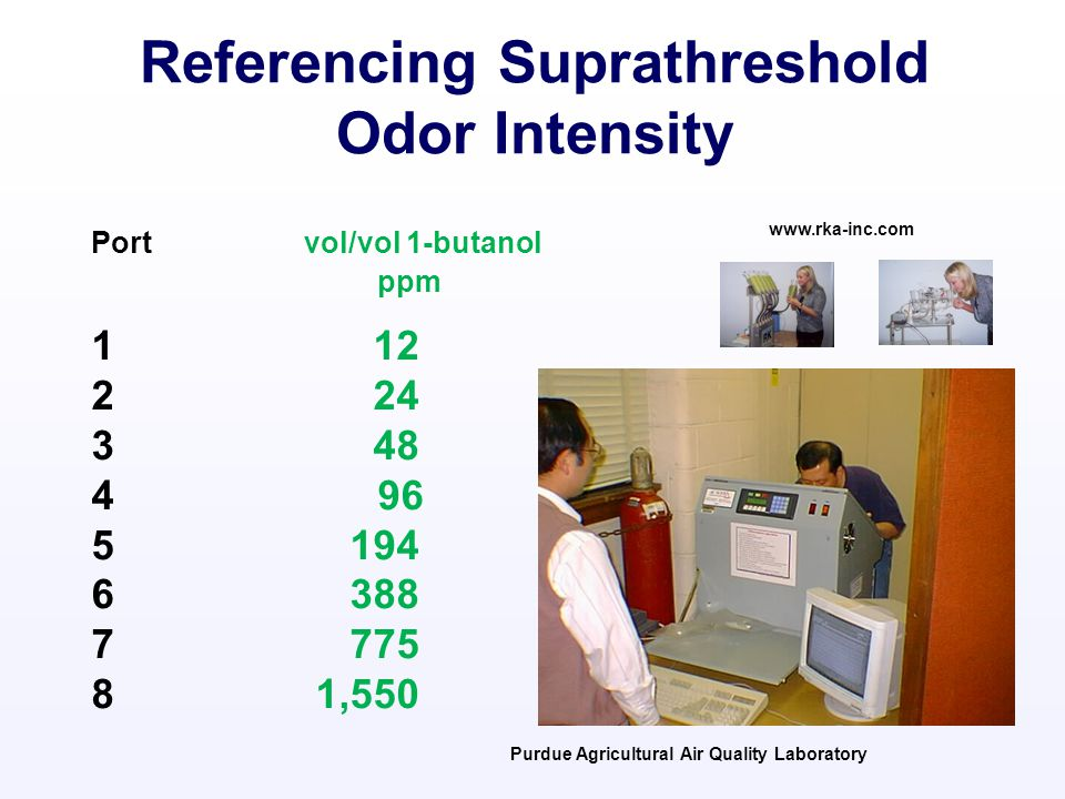 Port vol/vol 1-butanol ppm 1 12 2 24 3 48 4 96 5 194 6 388 7 775 8 1,550 www.rka-inc.com Purdue Agricultural Air Quality Laboratory Referencing Suprathreshold Odor Intensity