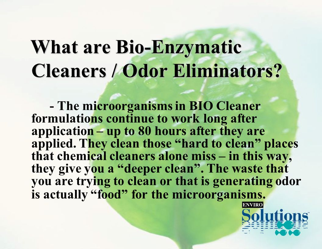 What are Bio-Enzymatic What are Bio-Enzymatic Cleaners / Odor Eliminators.