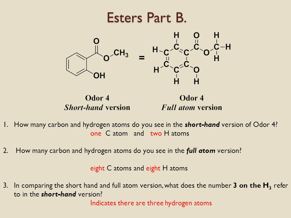 Esters Part B. Compare and Contrast again All esters seem to have this in common: Odor 4Odor 5Odor 6