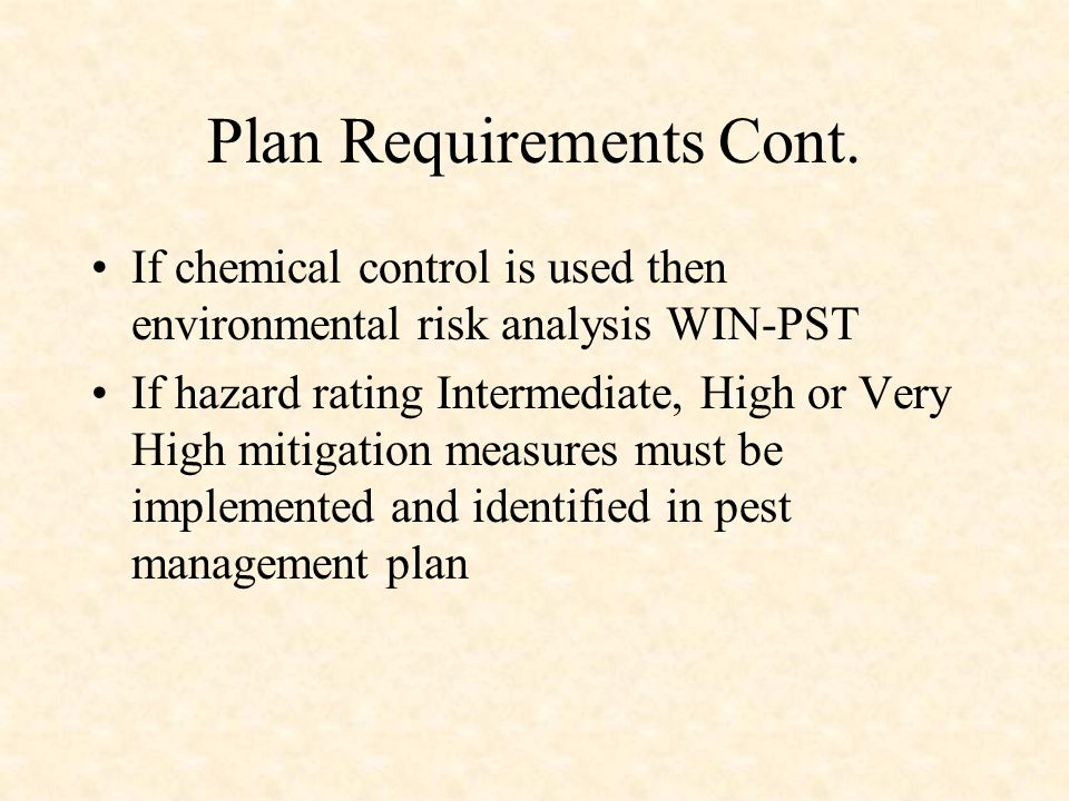 Plan Requirements Cont.