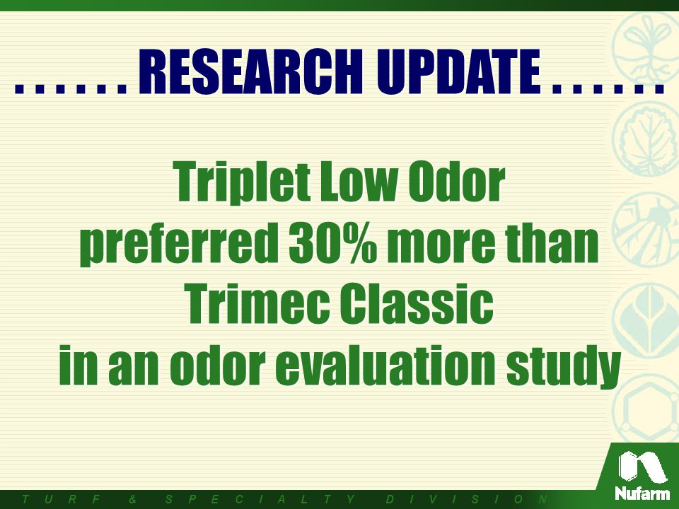 Triplet Low Odor preferred 30% more than Trimec Classic in an odor evaluation study......