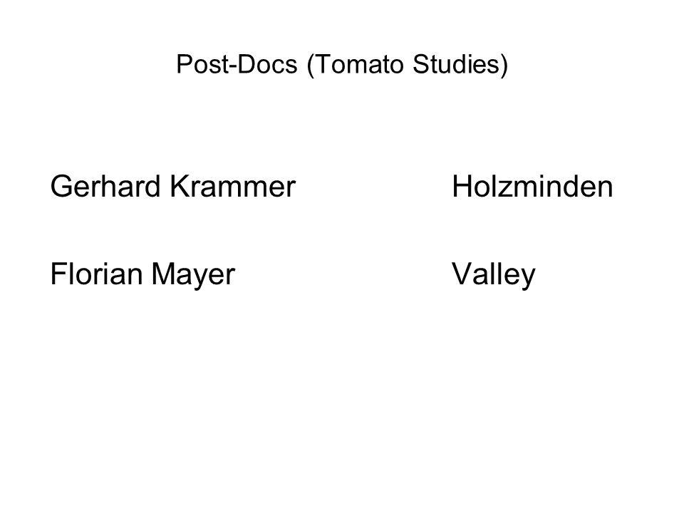 Post-Docs (Tomato Studies) Gerhard KrammerHolzminden Florian MayerValley
