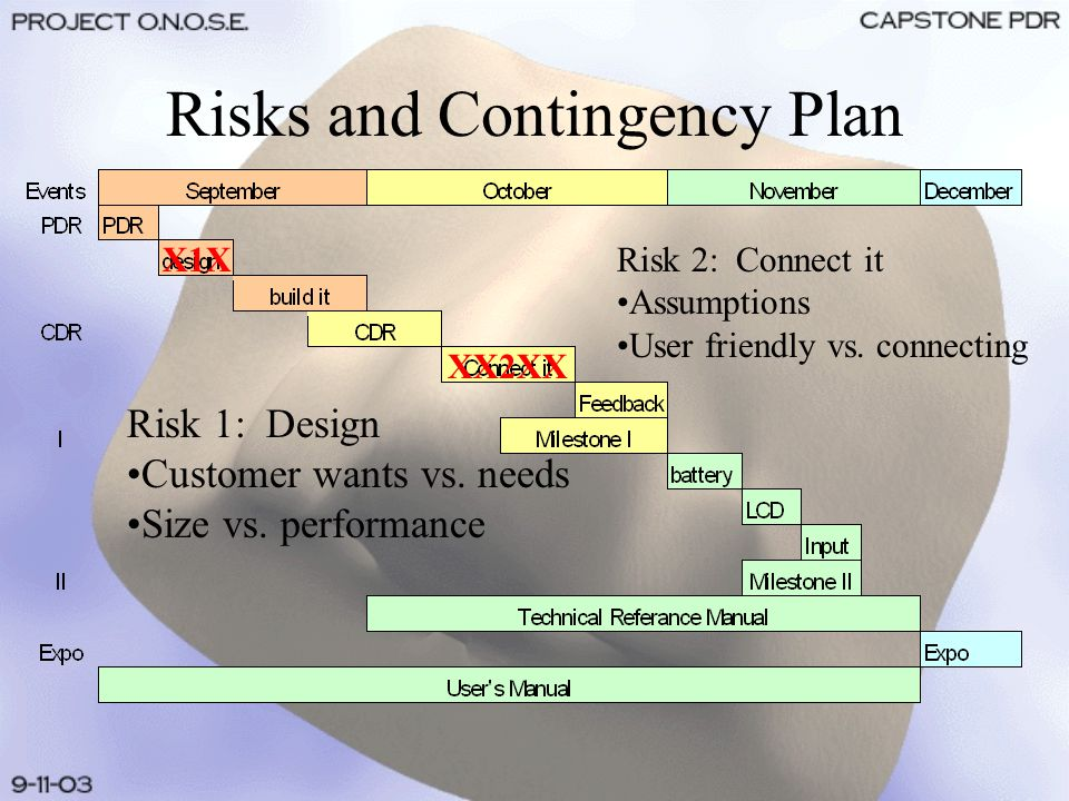 Risks and Contingency Plan Risk 1: Design Customer wants vs.