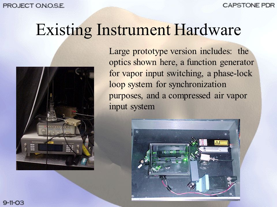 Existing Instrument Hardware Large prototype version includes: the optics shown here, a function generator for vapor input switching, a phase-lock loop system for synchronization purposes, and a compressed air vapor input system