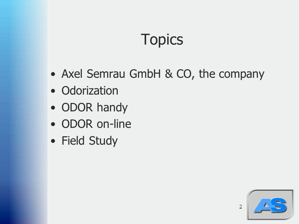 2 Topics Axel Semrau GmbH & CO, the company Odorization ODOR handy ODOR on-line Field Study