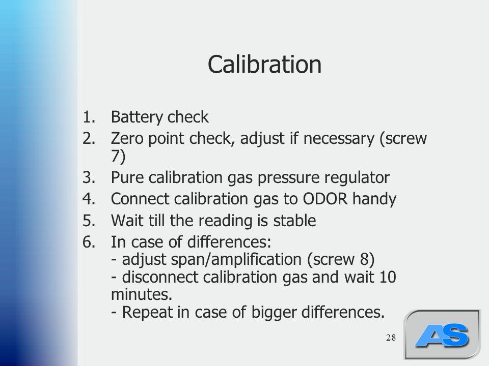 28 Calibration 1.Battery check 2.Zero point check, adjust if necessary (screw 7) 3.Pure calibration gas pressure regulator 4.Connect calibration gas t