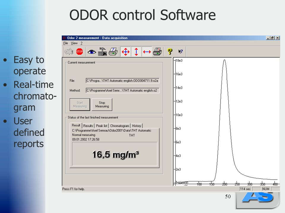 50 ODOR control Software Easy to operate Real-time chromato- gram User defined reports