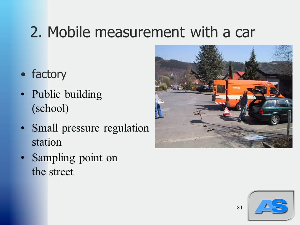 81 2. Mobile measurement with a car factory Public building (school) Small pressure regulation station Sampling point on the street