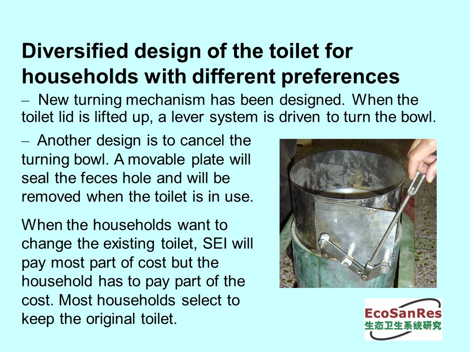 Diversified design of the toilet for households with different preferences – New turning mechanism has been designed.