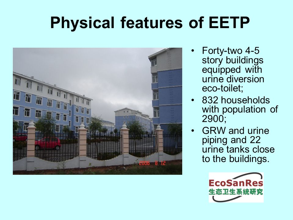 Physical features of EETP Forty-two 4-5 story buildings equipped with urine diversion eco-toilet; 832 households with population of 2900; GRW and urine piping and 22 urine tanks close to the buildings.