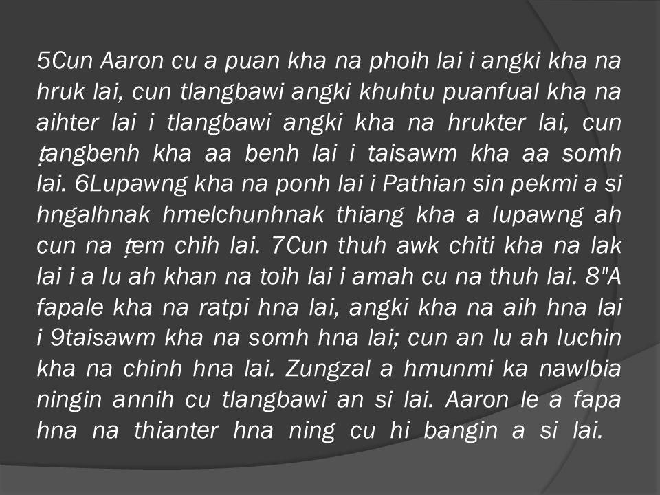10 Cawtum kha pumhnak thlam hmaiah khan na ratpi lai i Aaron le a fapa hna nih khan a lu cungah an kut an chuan lai.