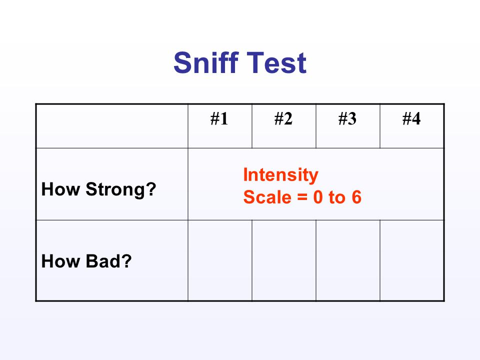 Sniff Test #1#2#3#4 How Strong How Bad Intensity Scale = 0 to 6