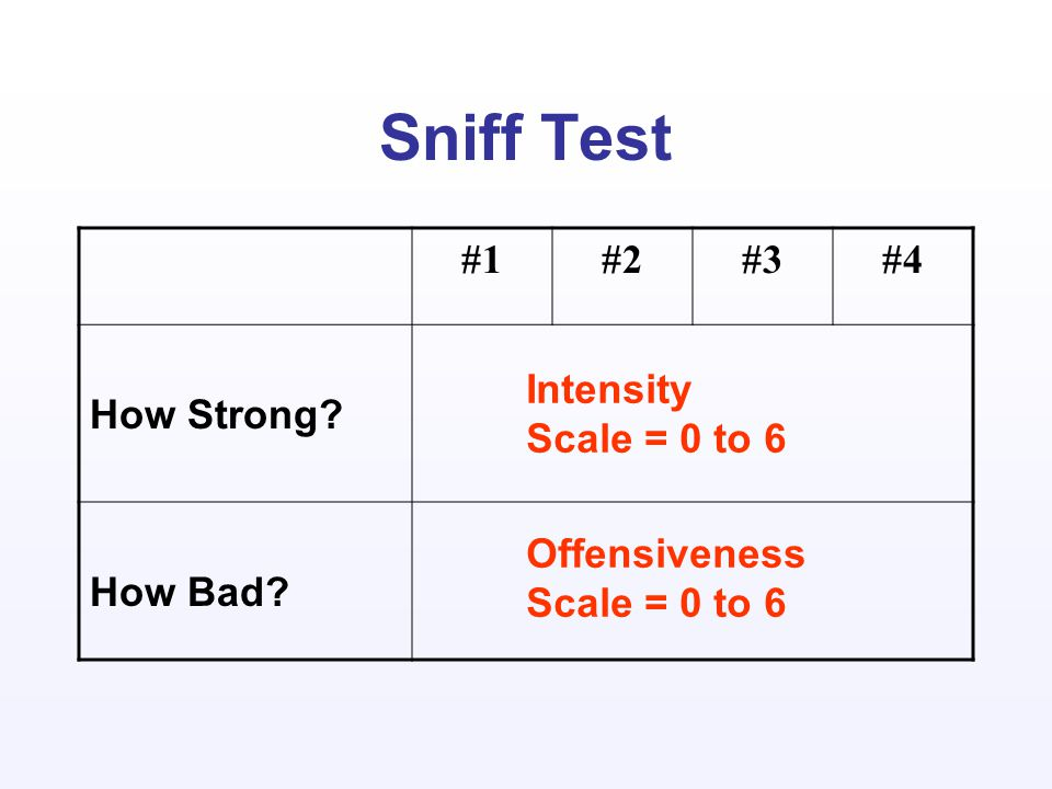 Sniff Test #1#2#3#4 How Strong How Bad Intensity Scale = 0 to 6 Offensiveness Scale = 0 to 6