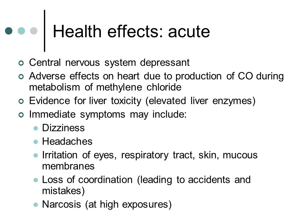 Health effects: chronic Clear evidence exists that methylene chloride causes cancer in animals Some studies suggest that there is an increased risk of cancer among workers who are exposed to methylene chloride Other studies show no apparent correlation NIOSH/CDC recommends that methylene chloride be regulated as a suspected carcinogen (lung and liver cancer)