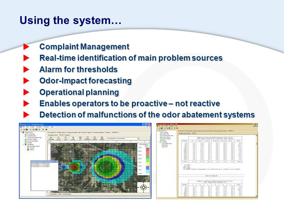 Using the system…  Complaint Management  Real-time identification of main problem sources  Alarm for thresholds  Odor-Impact forecasting  Operati