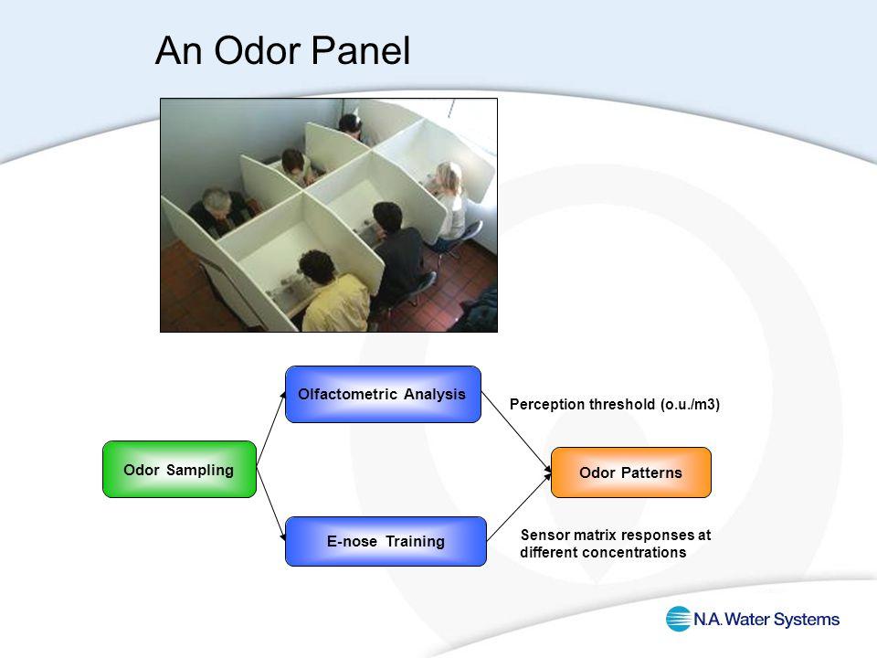 Odor Sampling Olfactometric Analysis Odor Patterns E-nose Training Perception threshold (o.u./m3) Sensor matrix responses at different concentrations An Odor Panel