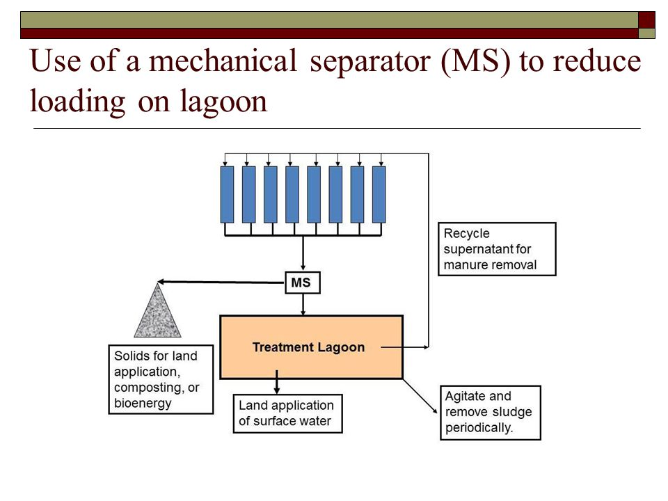 Use of a mechanical separator (MS) to reduce loading on lagoon