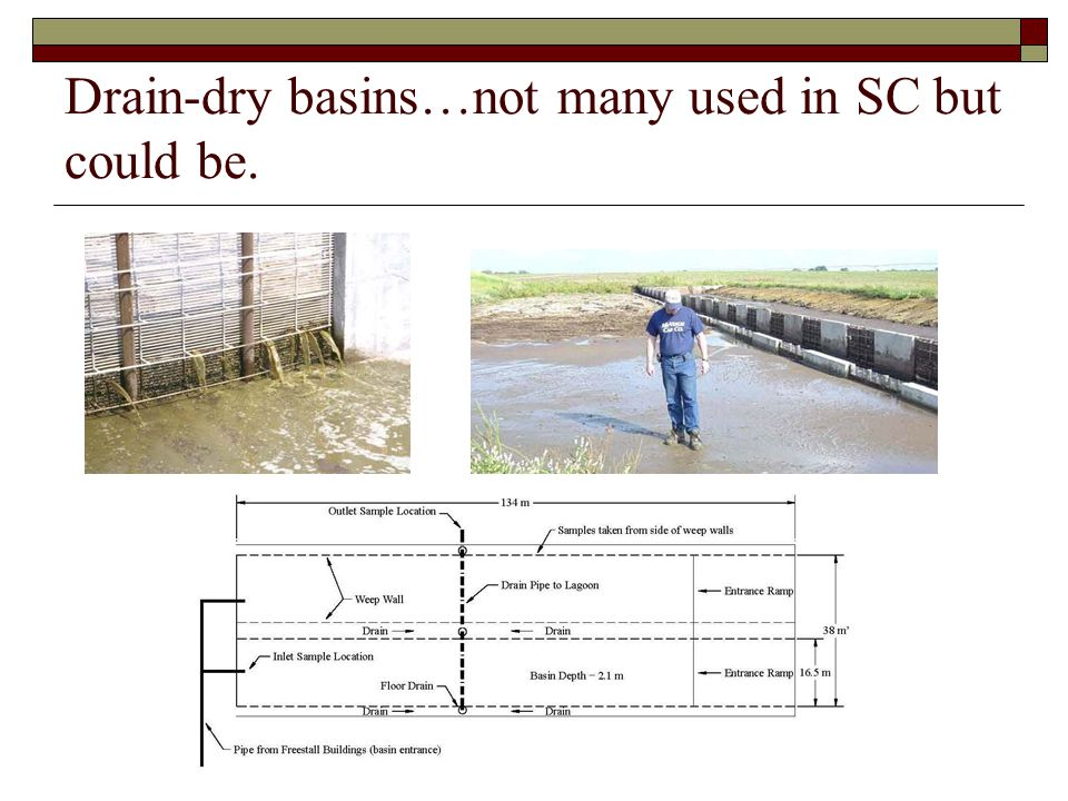 Drain-dry basins…not many used in SC but could be.