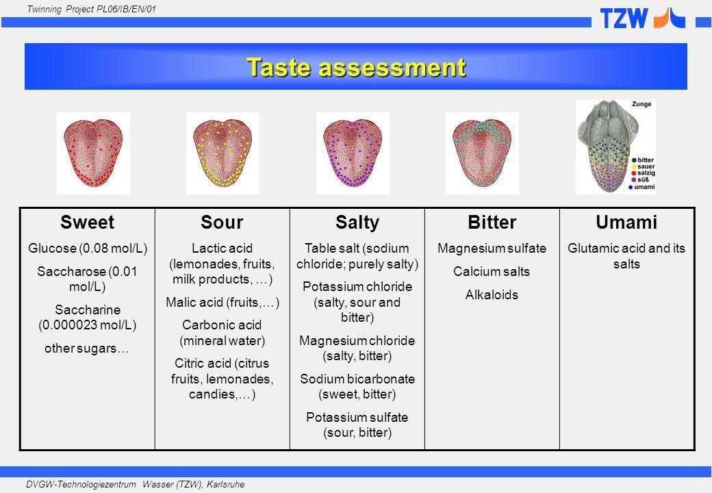 DVGW-Technologiezentrum Wasser (TZW), Karlsruhe Twinning Project PL06/IB/EN/01 Taste assessment Sweet Glucose (0.08 mol/L) Saccharose (0.01 mol/L) Saccharine (0.000023 mol/L) other sugars… Sour Lactic acid (lemonades, fruits, milk products, …) Malic acid (fruits,…) Carbonic acid (mineral water) Citric acid (citrus fruits, lemonades, candies,…) Salty Table salt (sodium chloride; purely salty) Potassium chloride (salty, sour and bitter) Magnesium chloride (salty, bitter) Sodium bicarbonate (sweet, bitter) Potassium sulfate (sour, bitter) Bitter Magnesium sulfate Calcium salts Alkaloids Umami Glutamic acid and its salts