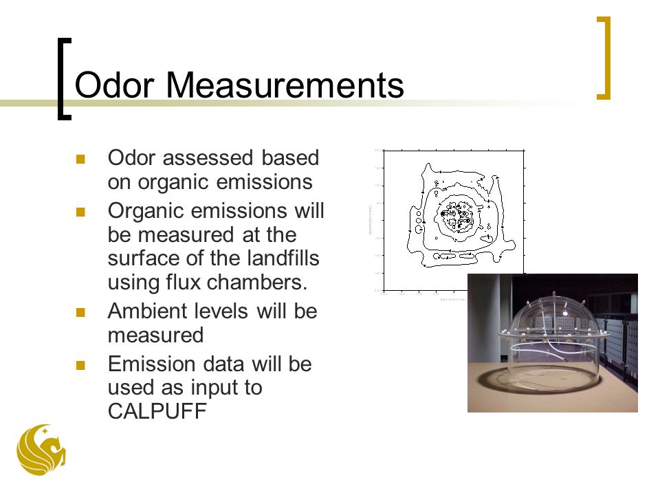 Odor Measurements Odor assessed based on organic emissions Organic emissions will be measured at the surface of the landfills using flux chambers.
