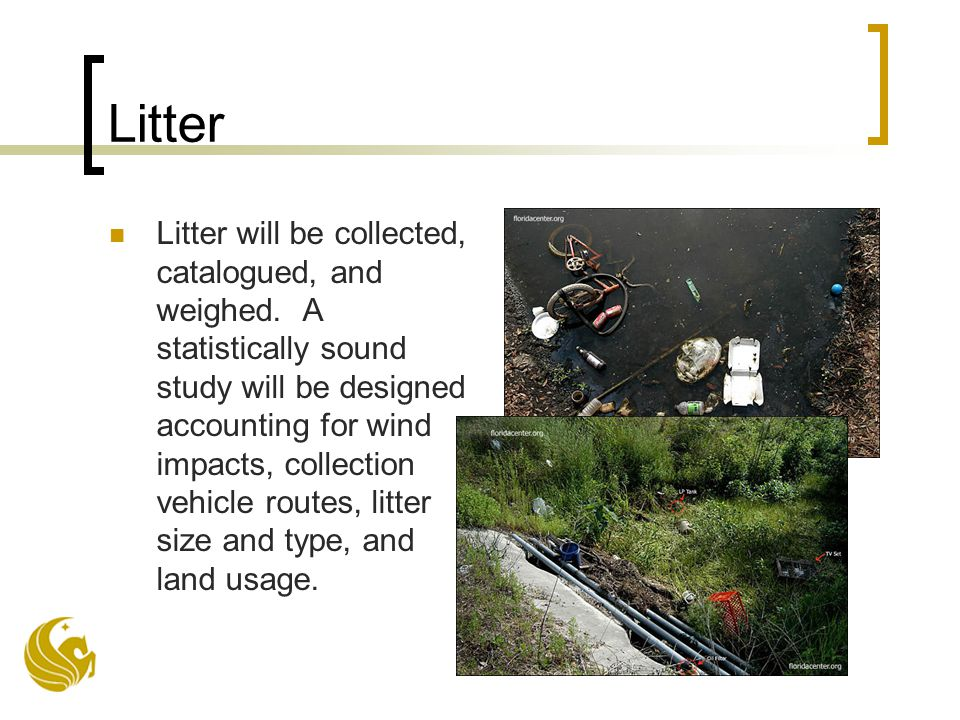Litter Litter will be collected, catalogued, and weighed.