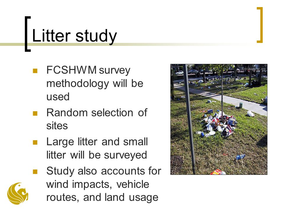Litter study FCSHWM survey methodology will be used Random selection of sites Large litter and small litter will be surveyed Study also accounts for wind impacts, vehicle routes, and land usage