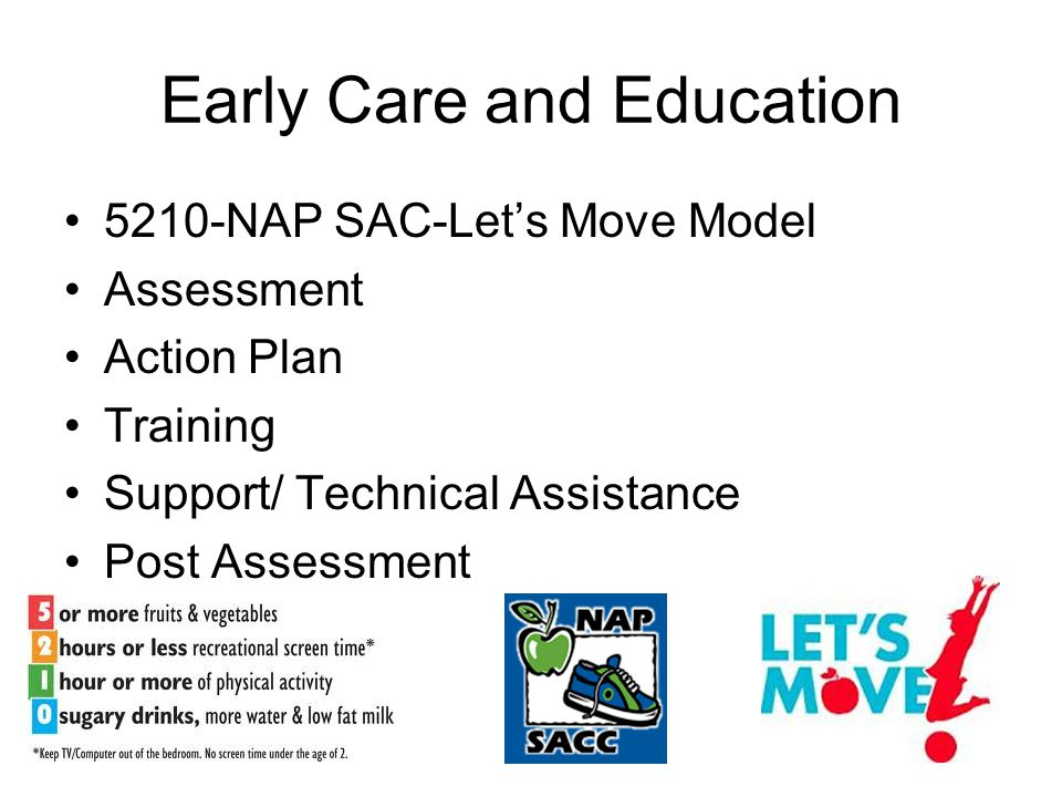Early Care and Education 5210-NAP SAC-Let's Move Model Assessment Action Plan Training Support/ Technical Assistance Post Assessment
