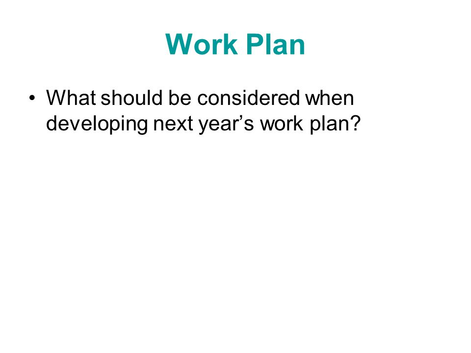 Work Plan What should be considered when developing next year's work plan