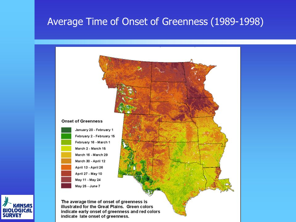 Average Time of Onset of Greenness (1989-1998)