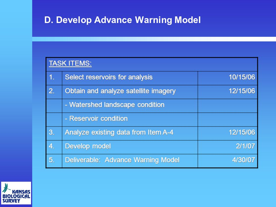 D. Develop Advance Warning Model TASK ITEMS: 1. Select reservoirs for analysis 10/15/06 2.