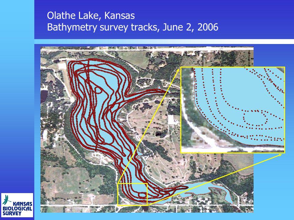 Olathe Lake, Kansas Bathymetry survey tracks, June 2, 2006