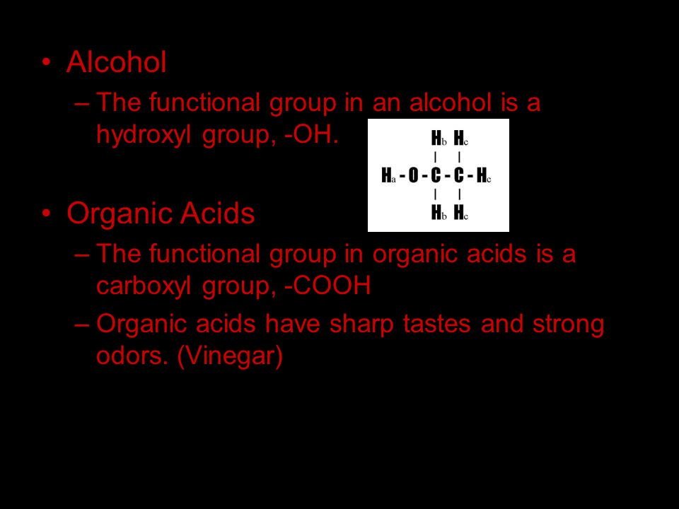 Alcohol –T–The functional group in an alcohol is a hydroxyl group, -OH. Organic Acids –T–The functional group in organic acids is a carboxyl group, -C