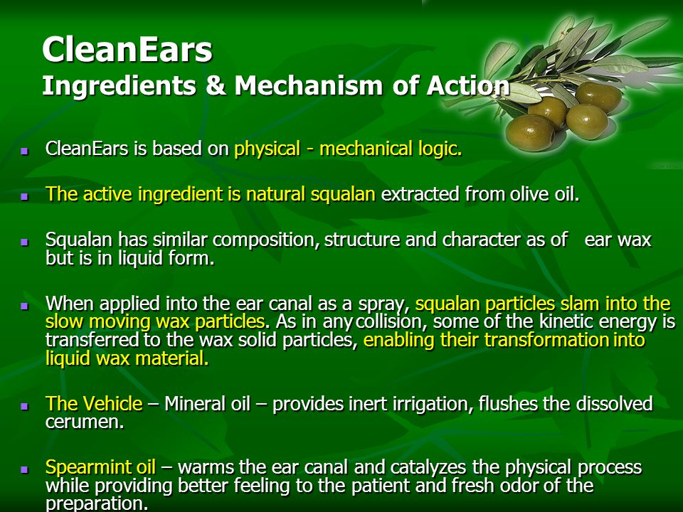 CleanEars Ingredients & Mechanism of Action CleanEars is based on physical - mechanical logic.