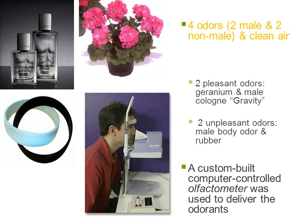  4 odors (2 male & 2 non-male) & clean air  2 pleasant odors: geranium & male cologne ''Gravity  2 unpleasant odors: male body odor & rubber  A custom-built computer-controlled olfactometer was used to deliver the odorants