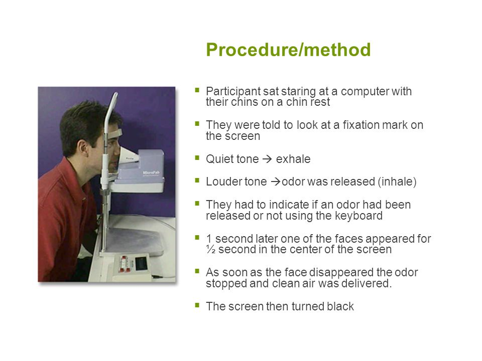 Procedure/method  Participant sat staring at a computer with their chins on a chin rest  They were told to look at a fixation mark on the screen  Q