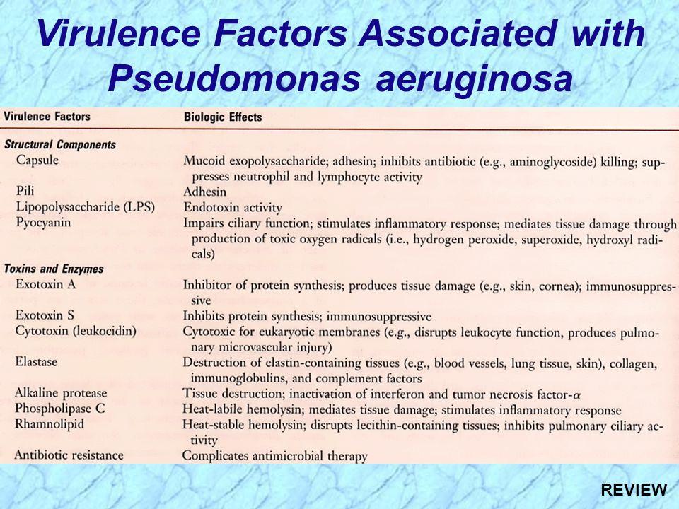 Virulence Factors Associated with Pseudomonas aeruginosa REVIEW
