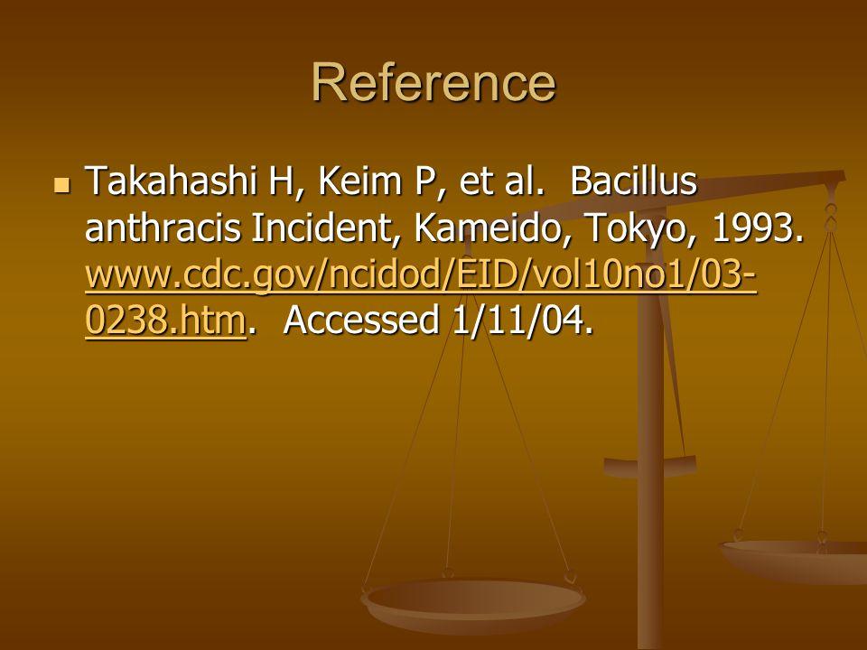 Reference Takahashi H, Keim P, et al. Bacillus anthracis Incident, Kameido, Tokyo, 1993.
