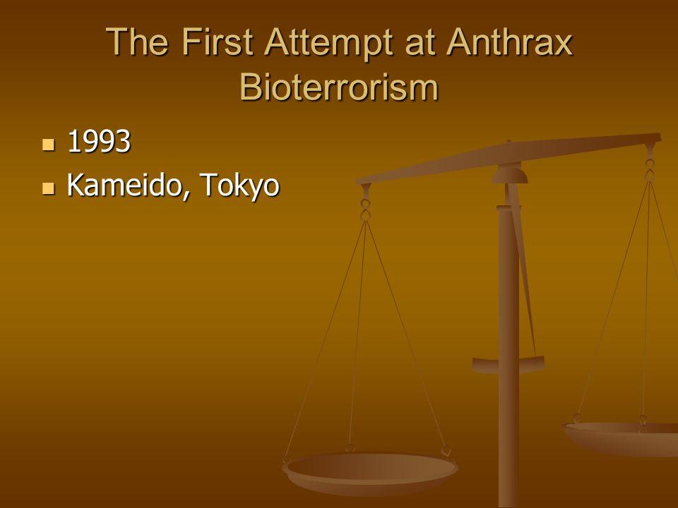 The First Attempt at Anthrax Bioterrorism 1993 1993 Kameido, Tokyo Kameido, Tokyo