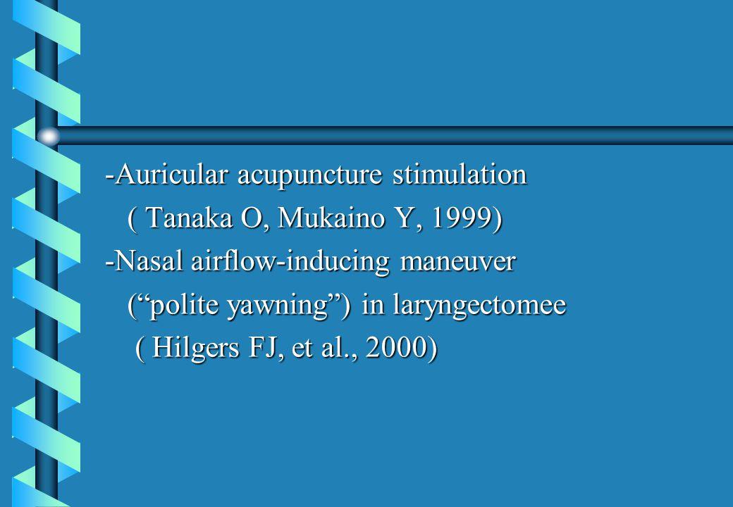 -Auricular acupuncture stimulation ( Tanaka O, Mukaino Y, 1999) ( Tanaka O, Mukaino Y, 1999) -Nasal airflow-inducing maneuver ( polite yawning ) in laryngectomee ( polite yawning ) in laryngectomee ( Hilgers FJ, et al., 2000) ( Hilgers FJ, et al., 2000)