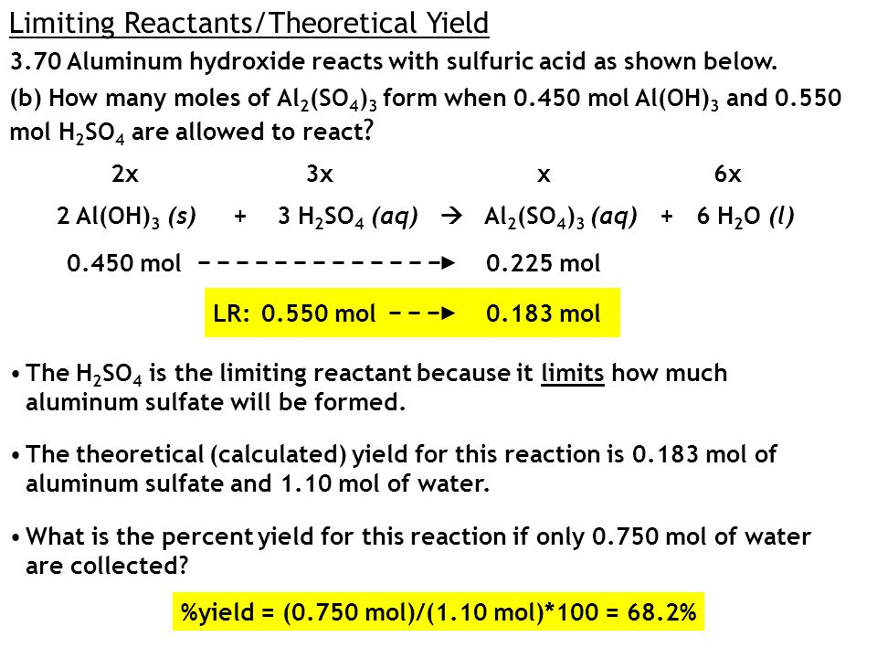 LR: 3.70 Aluminum hydroxide reacts with sulfuric acid as shown below.