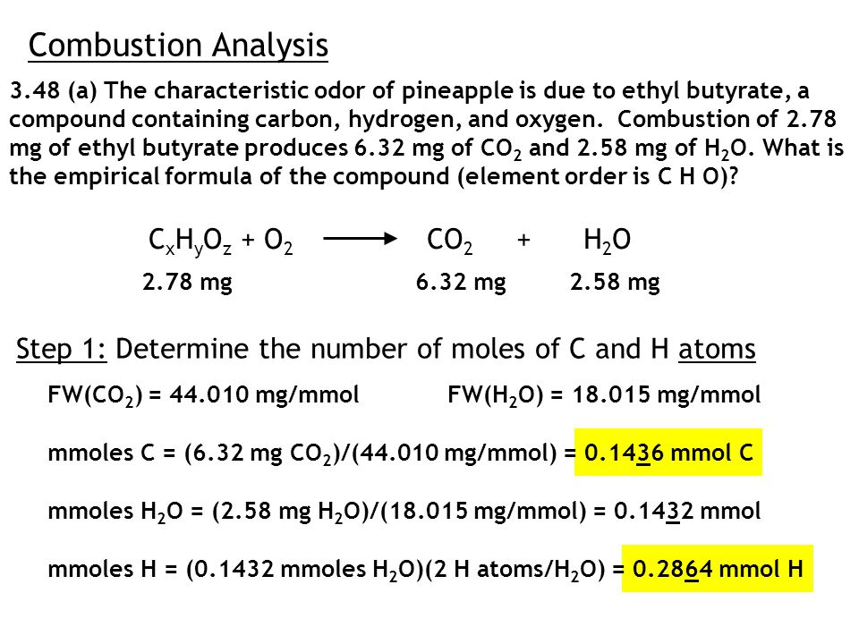 Combustion Analysis 3.48 (a) The characteristic odor of pineapple is due to ethyl butyrate, a compound containing carbon, hydrogen, and oxygen.