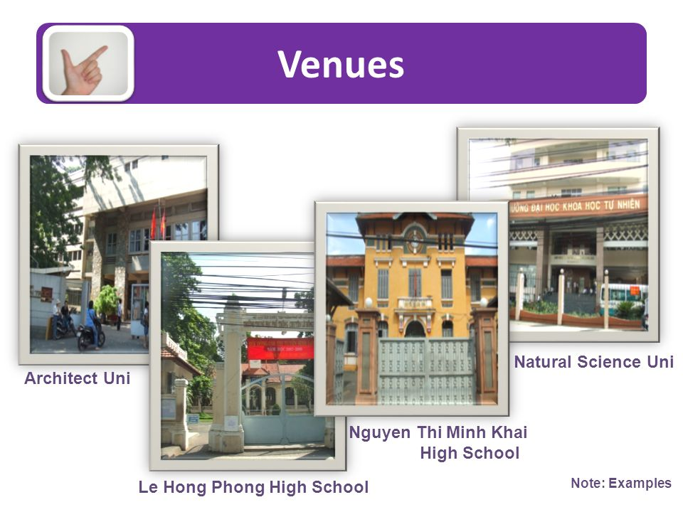 Venues Architect Uni Le Hong Phong High School Nguyen Thi Minh Khai High School Natural Science Uni Note: Examples